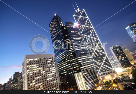 office building at night in hong kong  stock photo, office building at night in hong kong  by Keng po Leung