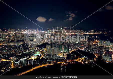 Hong Kong at night  stock photo, Hong Kong at night  by Keng po Leung