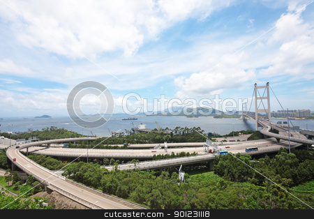 Tsing Ma Bridge in Hong Kong stock photo, Tsing Ma Bridge in Hong Kong by Keng po Leung