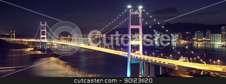 Beautiful night scenes of Tsing Ma Bridge in Hong Kong.  stock photo, Beautiful night scenes of Tsing Ma Bridge in Hong Kong.  by Keng po Leung