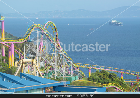 rollercoaster  stock photo, rollercoaster at day by Keng po Leung