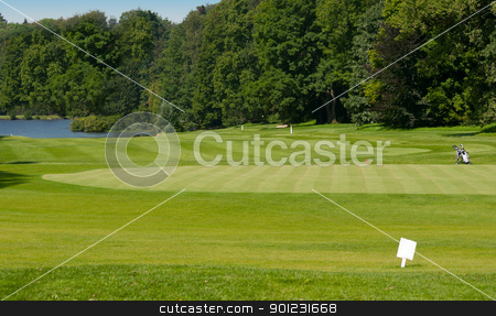 Golf Course in Forest stock photo, Golf Course in Forest With Lake - Golf Green by JAMDesign