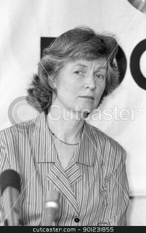 Janet Alty stock photo, Janet Alty, National Council member of the Green Party, speaks at a press conference in London on March 29, 1990. by newsfocus1