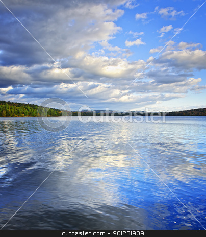 Lake reflecting sky stock photo, Lake of Two Rivers reflecting blue sky and clouds in Algonquin Park, Canada by Elena Elisseeva