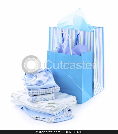 Baby shower presents stock photo, Gift bags and infant clothes for baby shower isolated on white by Elena Elisseeva