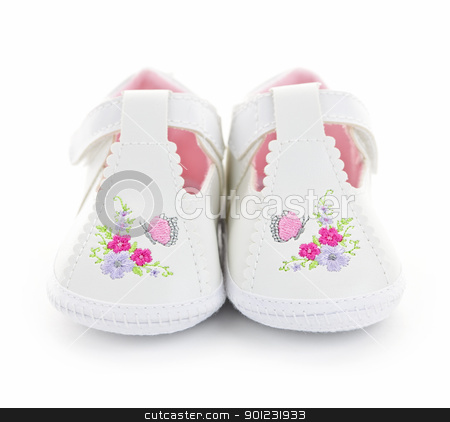 Baby shoes stock photo, Closeup of girl baby shoes isolated on white background by Elena Elisseeva