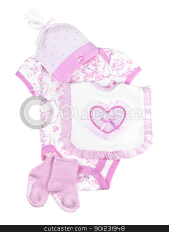 Pink baby clothes for infant girl stock photo, Pink infant girl clothing for baby shower isolated on white background by Elena Elisseeva