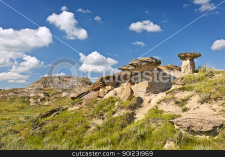 Badlands in Alberta, Canada stock photo, View of the Badlands and hoodoos in Dinosaur provincial park, Alberta, Canada by Elena Elisseeva