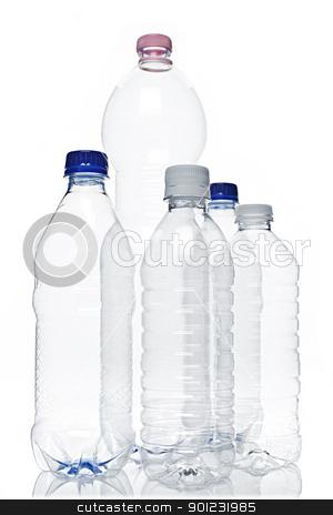 Empty plastic bottles stock photo, Assorted clear empty plastic recyclable bottles isolated on white by Elena Elisseeva