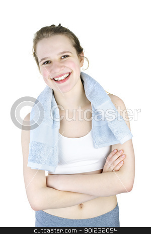 Happy girl after working out stock photo, Happy fit young woman after workout on white background by Elena Elisseeva