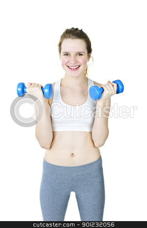 Happy active girl holding weights stock photo, Happy fit young woman working out with weights on white background by Elena Elisseeva