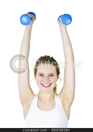Fit active girl lifting weights for fitness stock photo, Happy healthy fit young woman lifting weights for fitness exercise by Elena Elisseeva
