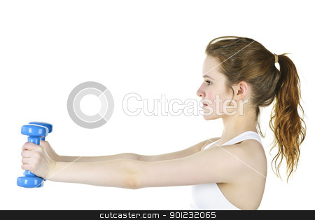 Fit active girl lifting weights for fitness stock photo, Determined healthy fit young woman lifting weights for fitness exercise by Elena Elisseeva