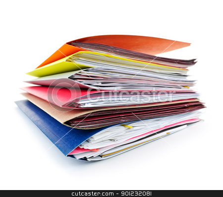 Folders with documents stock photo, Stack of colorful file folders with papers on white background by Elena Elisseeva