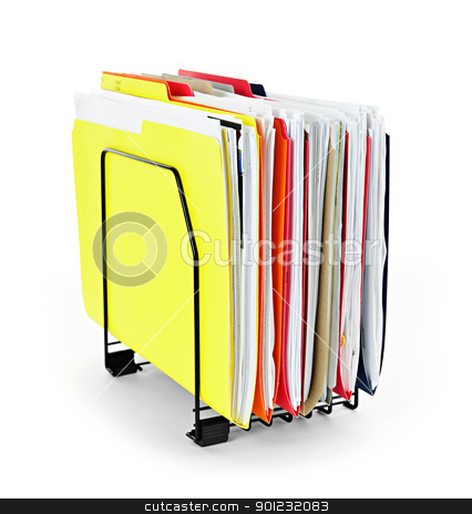 File folders with papers stock photo, File folders with documents in vertical organizer by Elena Elisseeva