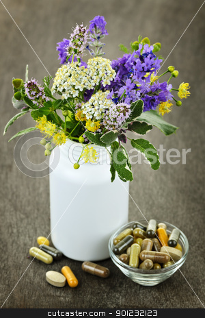 Herbal medicine and plants stock photo, Herb plants with mix of alternative medicine herbal supplements and pills by Elena Elisseeva