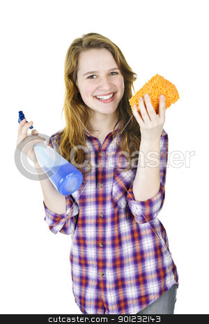 Smiling girl with cleaning supplies stock photo, Smiling young woman holding cleaning supplies isolated on white by Elena Elisseeva