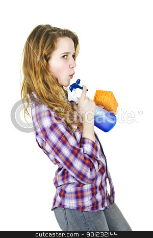 Young woman with cleaning supplies stock photo, Playful young woman having fun with cleaning supplies isolated on white by Elena Elisseeva
