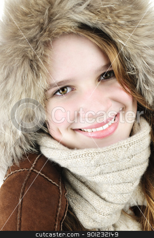 Happy winter girl stock photo, Portrait of beautiful young woman in fur hood of winter coat by Elena Elisseeva