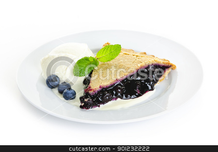 Blueberry pie slice stock photo, Plate with blueberry pie and vanilla ice cream isolated on white background by Elena Elisseeva