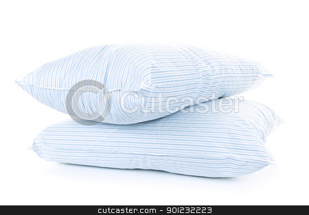 Two pillows stock photo, Two soft pillows with blue striped covers isolated on white background by Elena Elisseeva