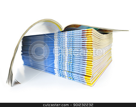 Stack of magazines stock photo, Many magazines stacked in a pile with one open isolated on white by Elena Elisseeva