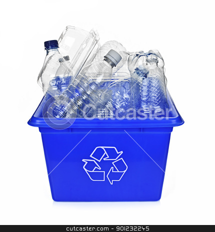 Recycling blue box stock photo, Recycling box filled with clear plastic containers isolated on white by Elena Elisseeva