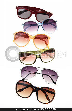 Sunglasses stock photo, Assorted styles of tinted sunglasses isolated on white background by Elena Elisseeva