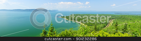 Lake Superior panorama stock photo, Panoramic landscape of Lake Superior northern shore in Ontario, Canada by Elena Elisseeva
