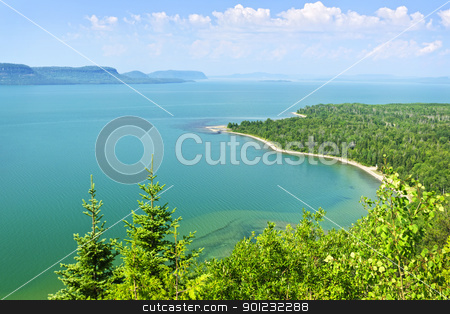 Lake Superior stock photo, Beautiful landscape of Lake Superior northern shore from above in Ontario, Canada by Elena Elisseeva