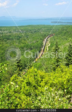 Train going through northern Ontario Canada stock photo, Freight train moving through forest of northern Ontario near Lake Superior in Canada by Elena Elisseeva