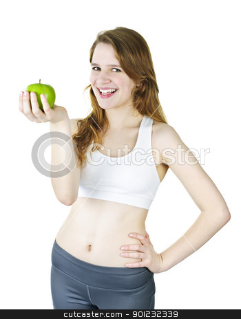 Young smiling girl holding apple stock photo, Healthy happy young woman holding green apple by Elena Elisseeva