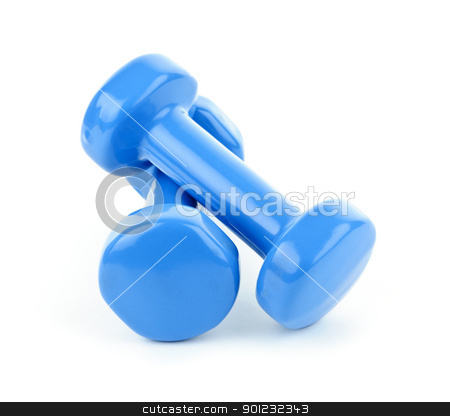 Blue dumbbell weights stock photo, Two dumbbell free weights isolated on white background by Elena Elisseeva