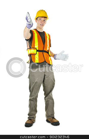 Construction worker gesturing stock photo, Male construction worker directing with hand signals in vest and hard hat by Elena Elisseeva