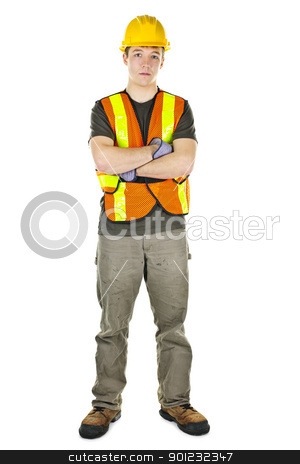 Construction worker with arms crossed stock photo, Serious male construction worker in safety vest and hard hat by Elena Elisseeva