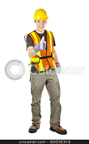 Happy construction worker showing thumbs up stock photo, Smiling male construction worker showing thumbs up in safety vest and hard hat by Elena Elisseeva