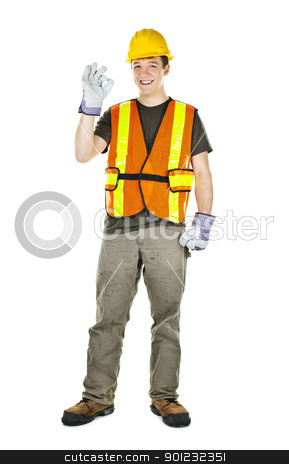 Happy construction worker stock photo, Smiling male construction worker showing okay sign standing isolated on white background by Elena Elisseeva