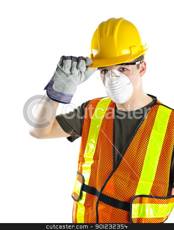 Construction worker wearing safety equipment stock photo, Male construction worker wearing safety protective gear by Elena Elisseeva