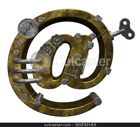 email stock photo, steampunk email symbol on white background - 3d illustration by J?