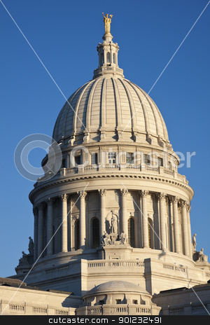 State Capitol of Wisconsin stock photo, Dome of State Capitol of Wisconsin in Madison. by Henryk Sadura