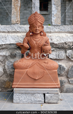 Goddess stock photo, A traditional Indian goddess made of clay at display by Arvind Balaraman