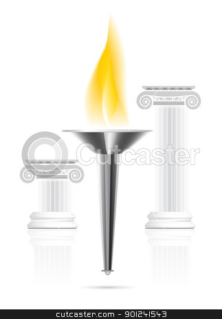 Olympic torch with flame stock vector clipart, Olympic torch with flame on ionic column background. Vector illustration by sermax55