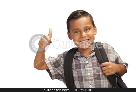 Happy Young Hispanic School Boy with Thumbs Up stock photo, Happy Young Hispanic School Boy with Thumbs Up and Backpack Ready for School Isolated on a White Background. by Andy Dean