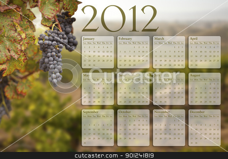 2012 Calendar with Grape Vineyard Background stock photo, 2012 Calendar with Lush Grape Vineyard Background. by Andy Dean