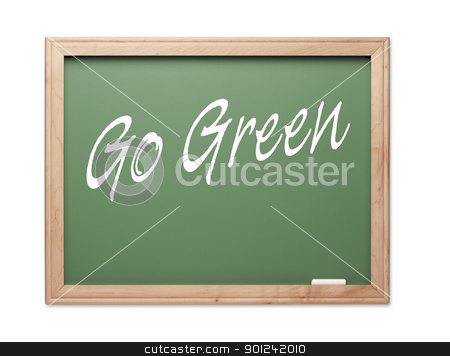 Go Green Green Chalk Board Series stock photo, Go Green Green Chalk Board Series on a White Background. by Andy Dean