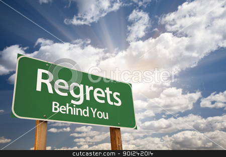 Regrets, Behind You Green Road Sign stock photo, Regrets, Behind You Green Road Sign Against Dramatic Sky, Clouds and Sunburst. by Andy Dean