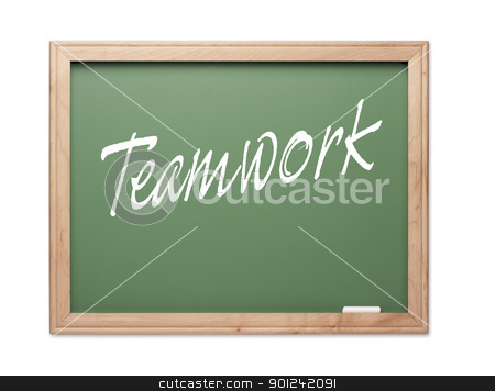 Teamwork Green Chalk Board Series stock photo, Teamwork Green Chalk Board Series on a White Background. by Andy Dean