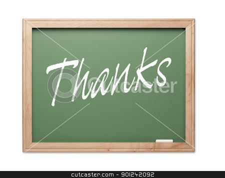 Thanks Green Chalk Board Series stock photo, Thanks Green Chalk Board Series on a White Background. by Andy Dean