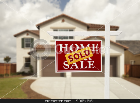 Sold Real Estate Sign and House stock photo, Sold Home For Sale Real Estate Sign in Front of New House. by Andy Dean