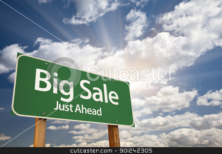 Big Sale Green Road Sign stock photo, Big Sale, Just Ahead Green Road Sign Over Dramatic Sky, Clouds and Sunburst. by Andy Dean
